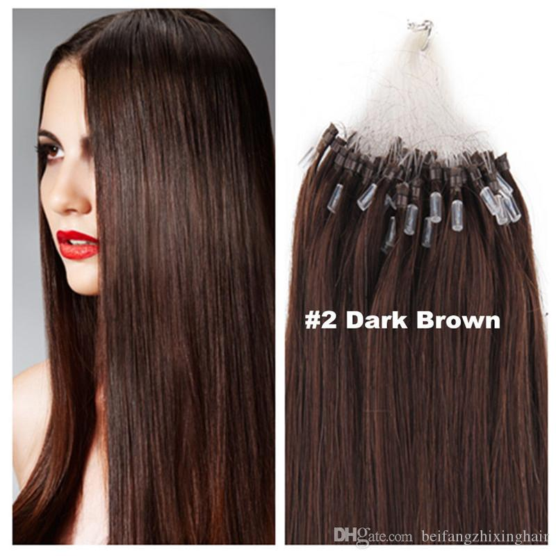 """wholesale remy indian Hair 16""""-24"""" 1g /s 100g#2 dark brown Loop/Micro Ring Hair Extension,100% Human Hair Extensions dhl free"""