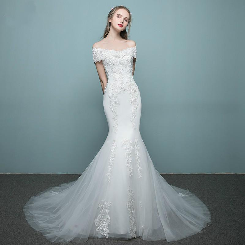 Wedding Dress 2018 New Small Tail Word Europe Bride Shoulder Waist ...