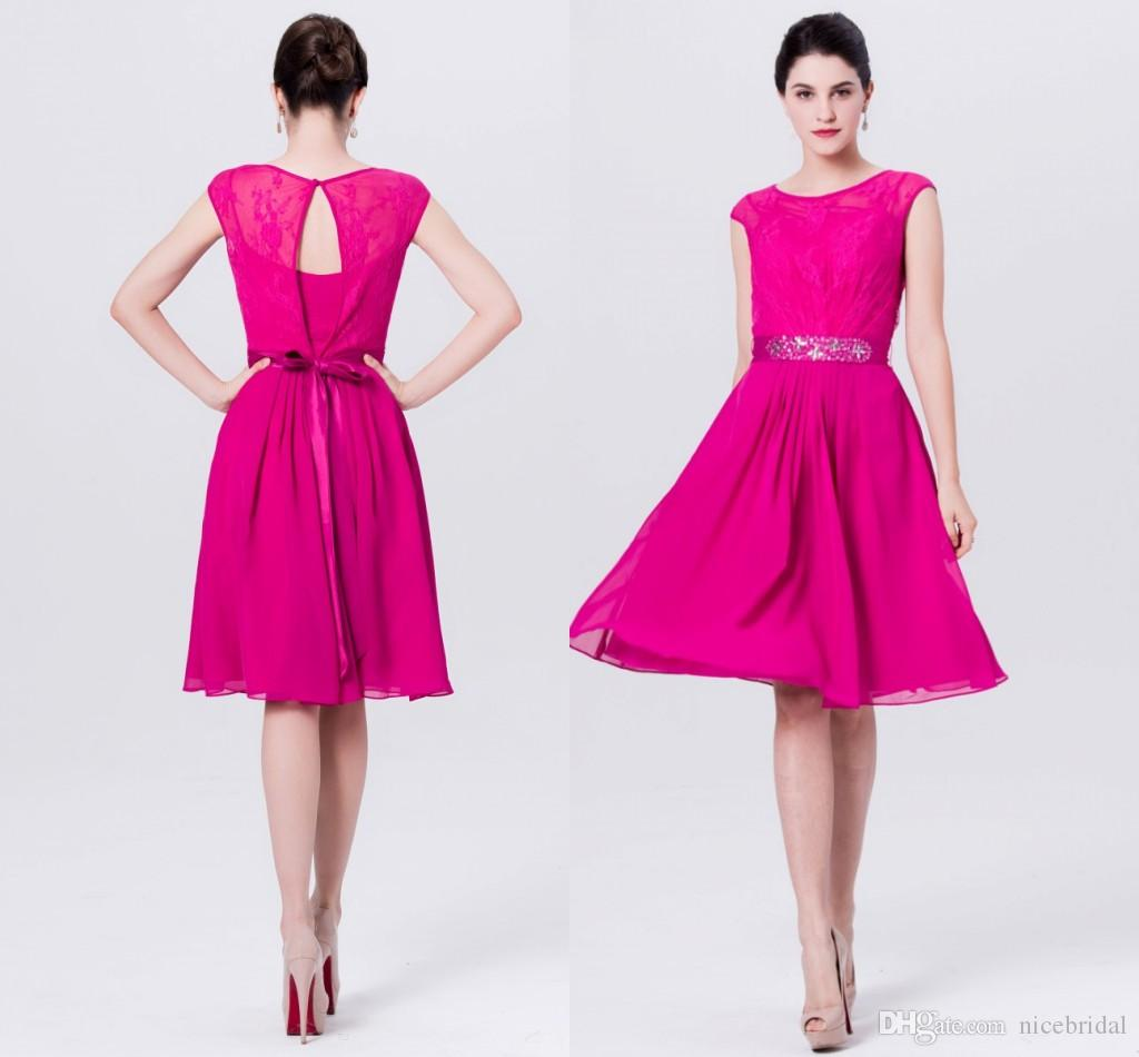 Fuchsia Short Cheap Bridesmaid Dresses For Wedding Party Lace Knee ...