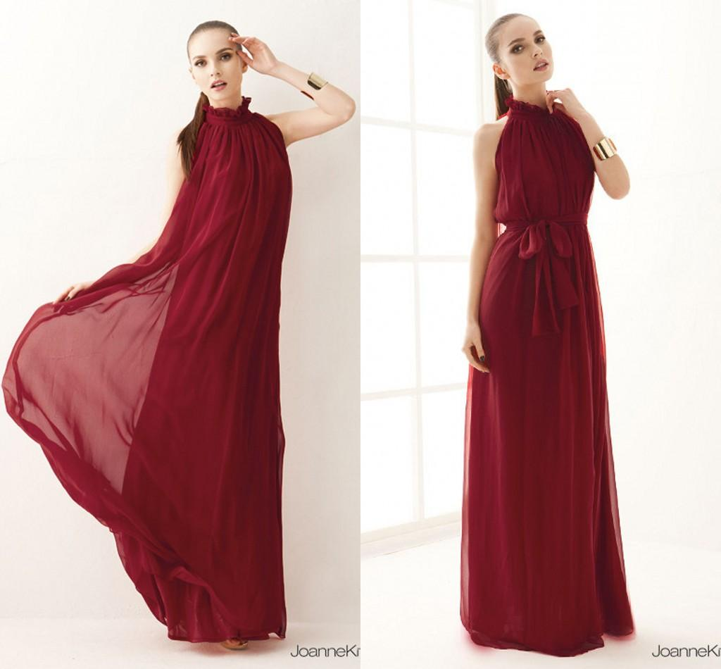 Modern Simple Bohemian Style Junior Prom Dresses Long Chiffon