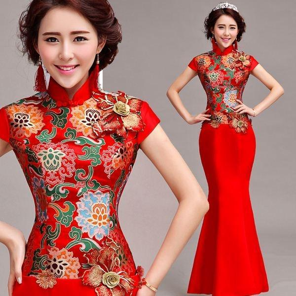 Red Chinese Wedding Bride Wedding Toast Clothing Short Sleeved