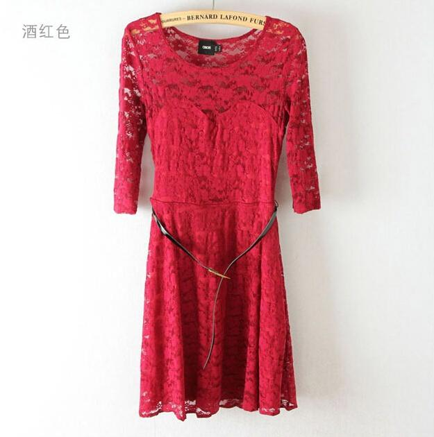 Women Clothes Plus Size S-XXL Lace Dresses 2016 New Women Fashion Spring/Summer Dresses fifth sleeve Sexy Lace Women's Dresses