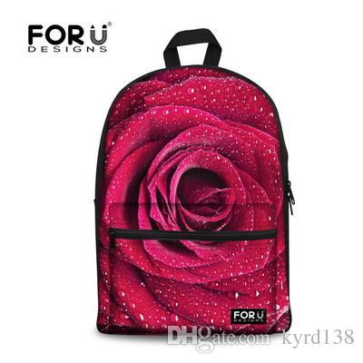 cef9cfcce524 FORUDESIGNS 3D Floral Women Backpack Rose Pattern Children Travel Backpack  Casual Shoulder Mochila Infantil For Girls Rucksack Laptop Backpacks Bum  Bags ...