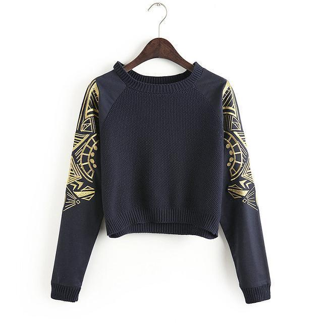 635983afb43 2019 2016 NEW Spring Fashion Crop Top Blouses Women Embroidery Sleeve Short  Design Knitted Sweatshirts Pullover Sweater Baseball Uniform WI96 From ...