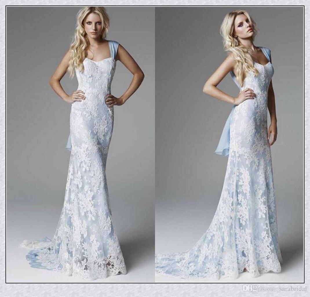 Großhandel Ice Blue Lace Brautkleider 2018 Sexy Sheep Sweep Zug ...