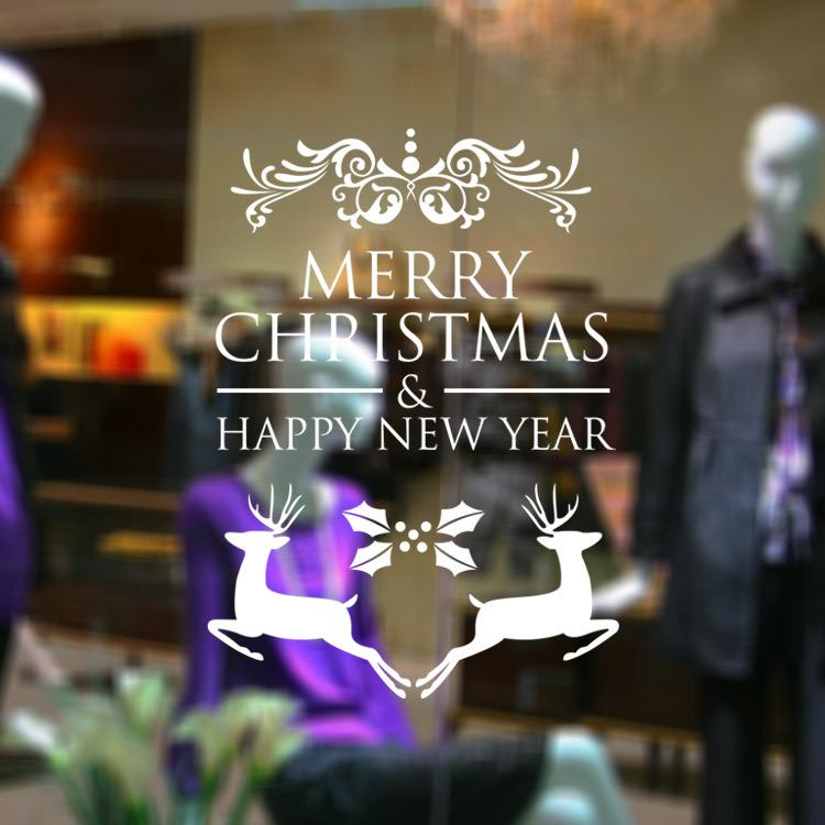Merry christmas christmas tree wall stickers wallpaper removable stickers hotel shopping glass shop window stickers free shipping