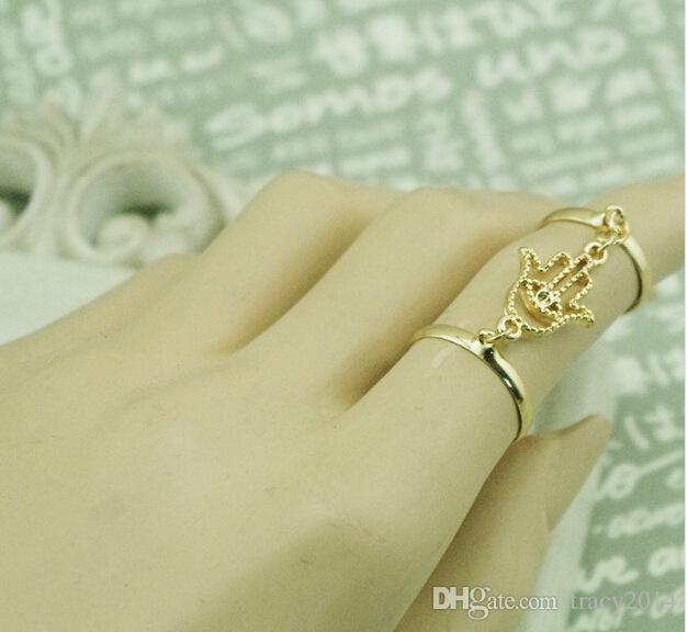Offene Doppelschleifenringe Fatimas Hand Quastenkettenring Gelenkring Knöchelringe Bergamotte Palmprint mit Kristallfingerringen