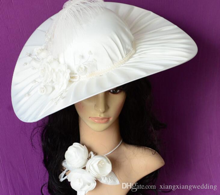 Lace Dress Hat Handmade Korean Satin Hats Fashion Trend Women White Bride Headdress Studio hair wedding Dress Accessories