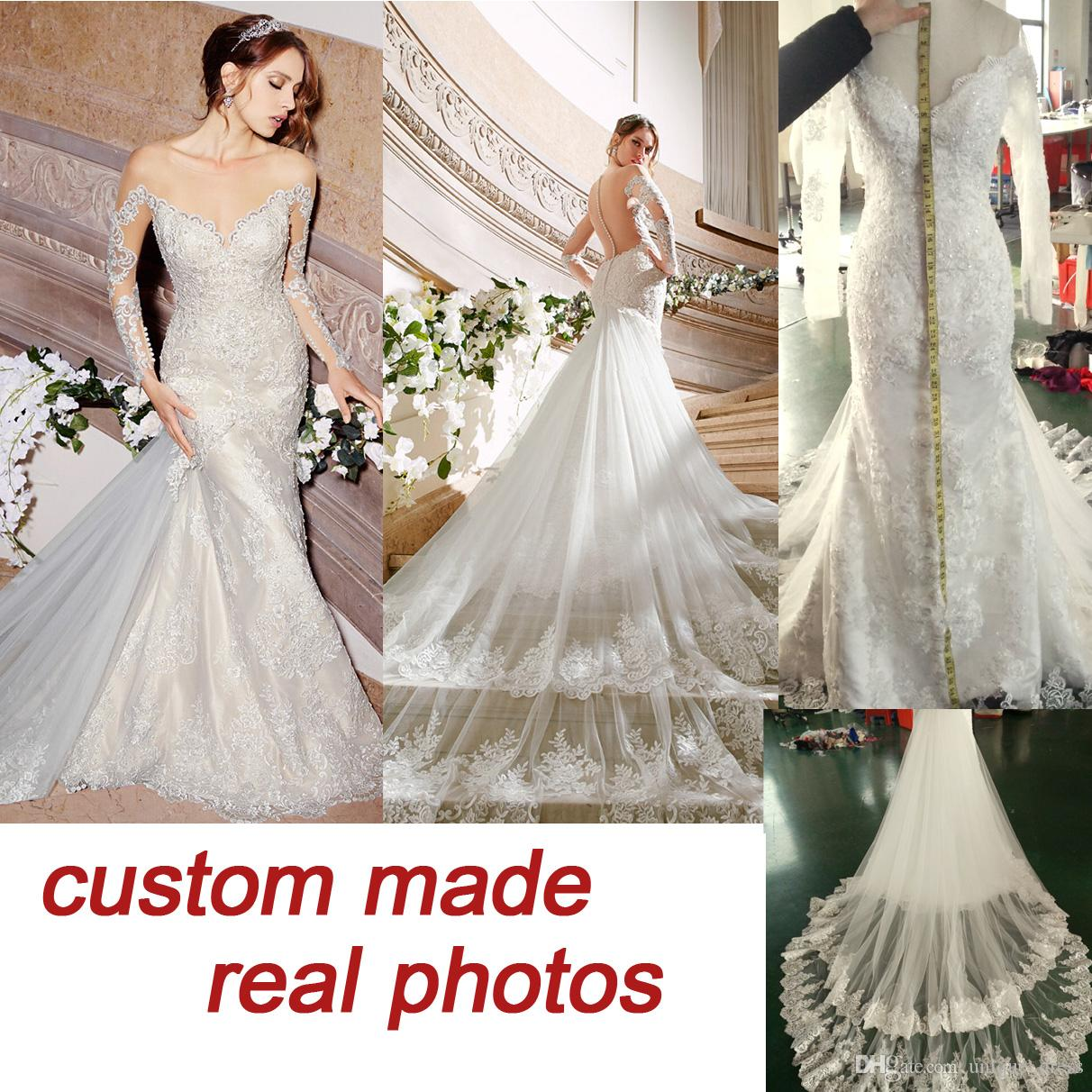 2016 Moonlight Couture Vintage Wedding Dresses Lace Backless Chapel Train Plus Size Long Sleeve Tulle Mermaid 6079