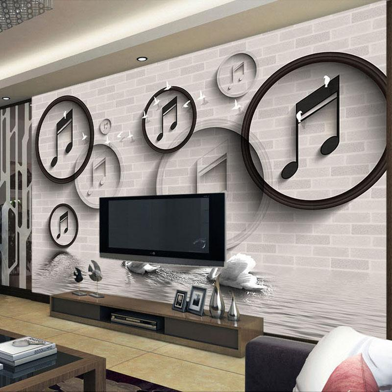 ... Living Room Wall Murals Custom Photo Wallpaper Modern Musical Note  Black And White Circle ... Part 81