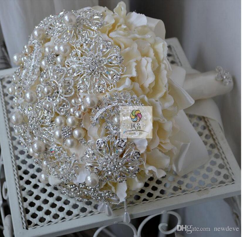 super luxury wedding flowers crystals rhinestones sparkling bridal bouquet satin flowers garden church beach wedding accessory burgundy flowers cost of