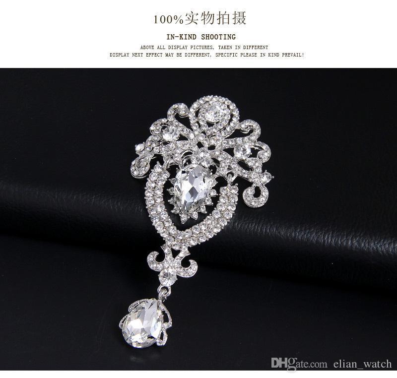 Vintage Couronne Pin En Cristal Balancent Broche Haut de gamme Strass Broche Belle Pins Pour Les Femmes Nouveau 2016 Bijoux Accessoires De Mariage De Mariage Bouq