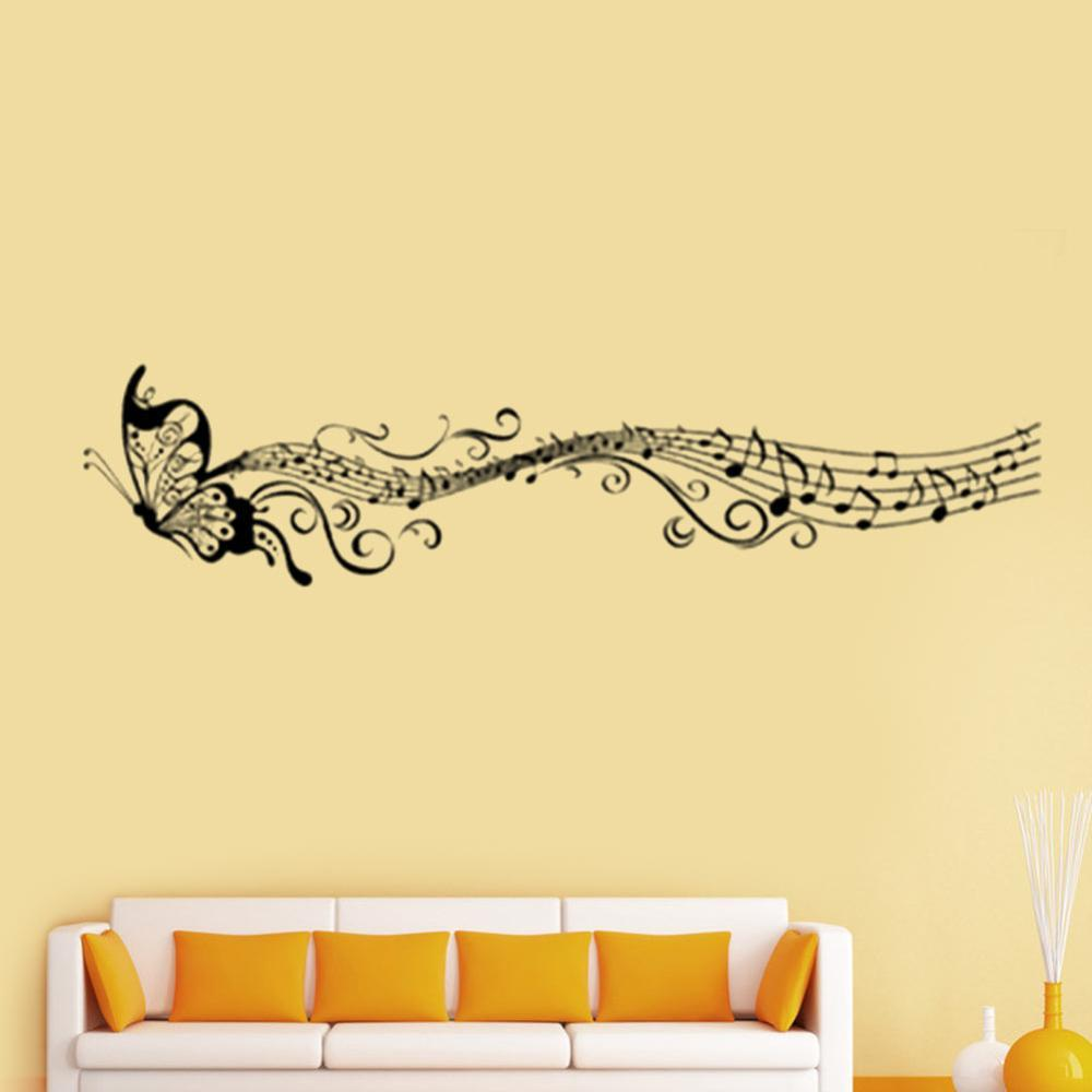 New hot music musical note staff butterfly wall sticker decal home see larger image amipublicfo Gallery