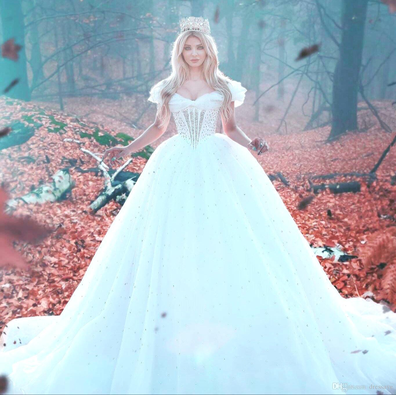 Discount 2018 Princess Style Luxury A Line Bridal Gowns Wedding ...