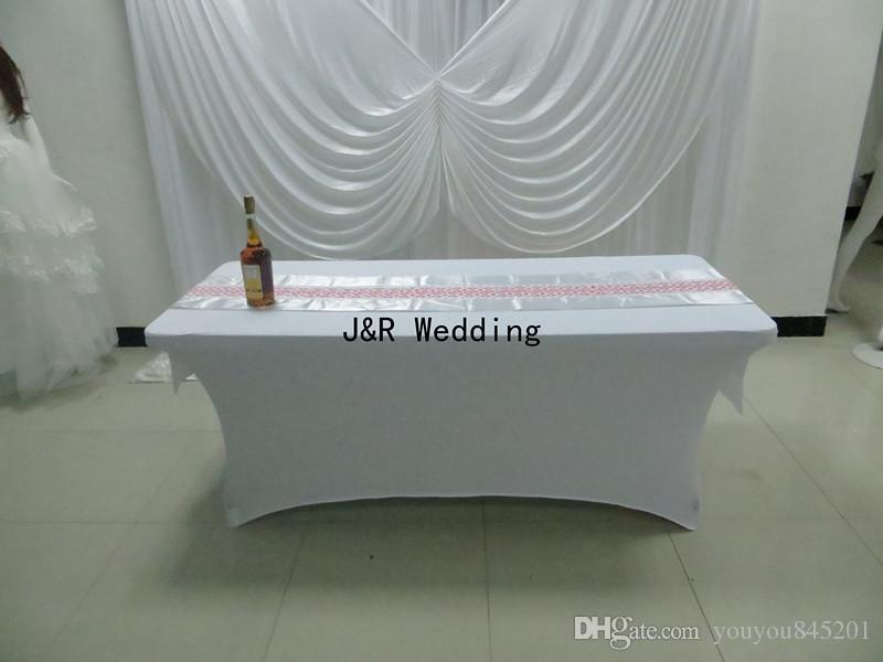 고품질 210GSM 백색 스판덱스 직사각형 라이크라 테이블 피복 결혼식 사용을위한 4FT / 6FT / 8FT 덮개
