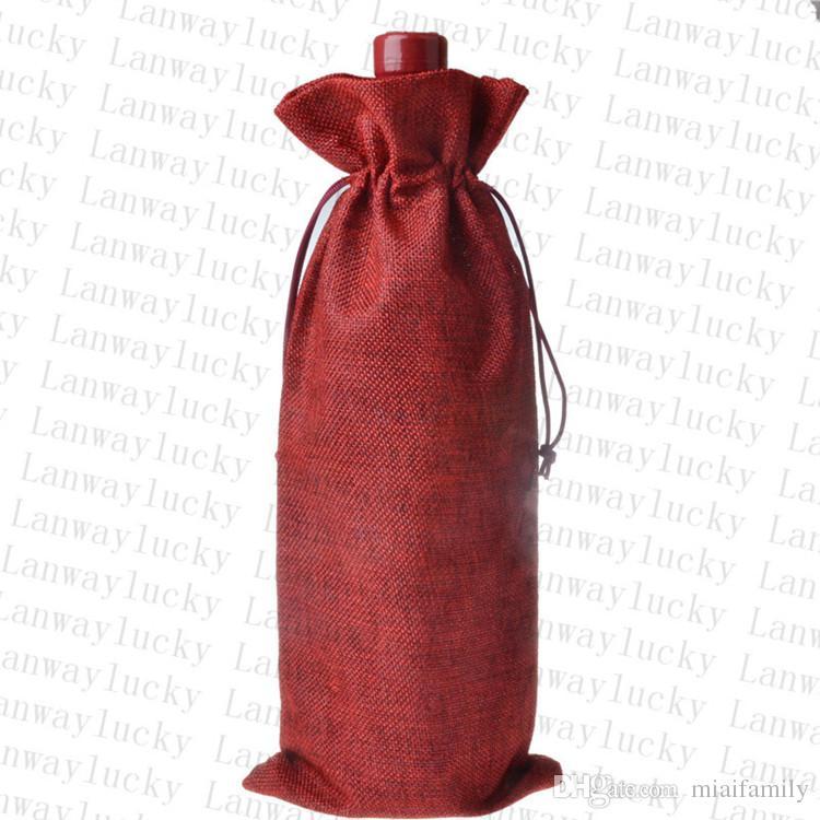Jüt Şarap Şişesi Şampanya Şarap Kör Ambalaj Kapakları Hediye Çanta Rustik Hessen Noel Düğün Yemeği Masa Süslemeleri 16x36 cm