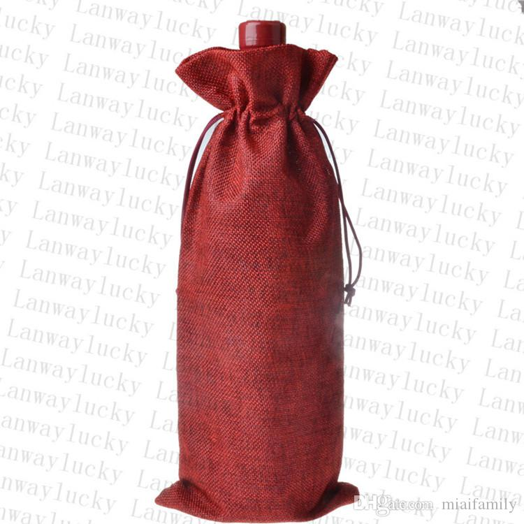 Jute Wine Bottle Covers Champagne Wine Blind Packaging Gift Bags Rustic Hessian Christmas Wedding Dinner Table Decorate 16x36cm