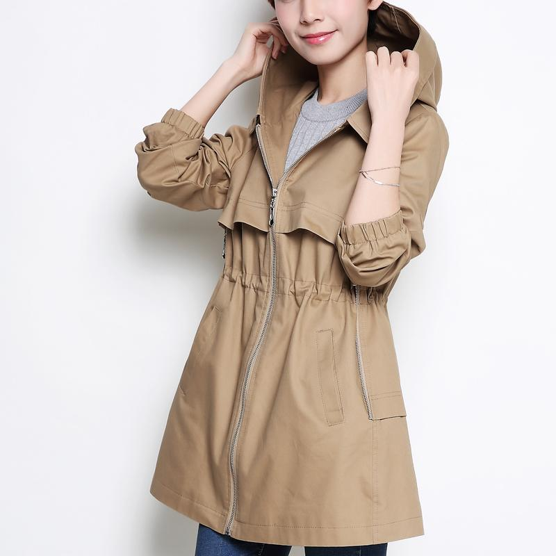 YAGENZ Mother Colthes Spring Coat 2017 Autumn Women Hooded Trench Coat Middle - aged Casual Clothing Large size Solid color Coat