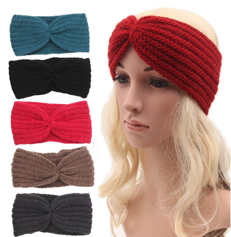 Fashion Wool Buttons Crochet Headband Knit Hair Band Flower Winter