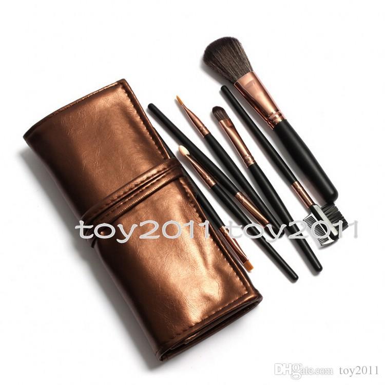 Pincéis de Maquiagem Make Up Kit Escova Kits Pestana Pincel de Blush Escova De Olho-sombra Sponge Sumudger 7 peças Make Up Ferramentas PU Bag 1 conjunto