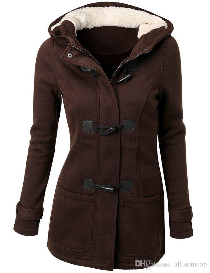 Autumn Winter 5XL Fashion Womens Casual Coats Wool Blended Classic Pea Outwear Long Sleeve Hooded Jackets Claw Horn Button Womens Clothing