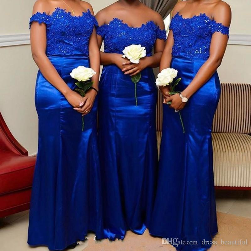 Elegant Short Sleeves Scalloped Neck Lace Applique Beaded Satin Royal Blue Bridesmaid Dresses Mermaid Floor Length Wedding Party Gowns 2017