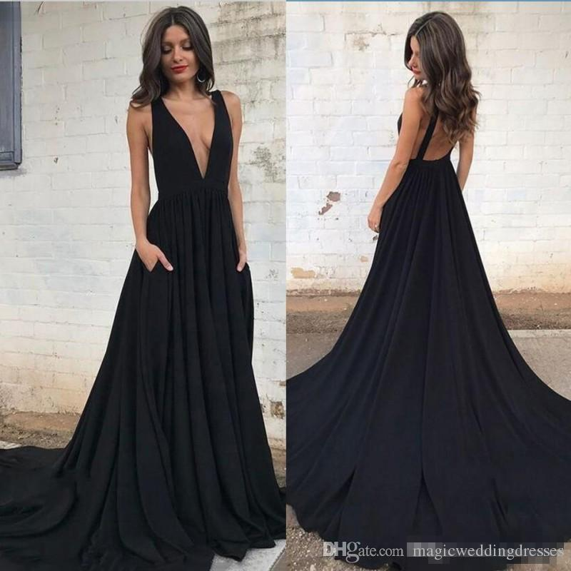 0f1ed8666212 Sexy Deep V Neck Black Prom Dresses With Pockets Backless A Line Dress  Evening Wear Sweep Train Cheap Formal Party Dress Plus Size Prom Dresses  Red Prom ...
