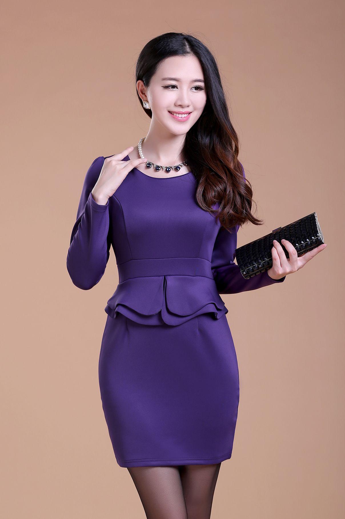 2018 2015 Womens Fashion Ol Work Dresses Sexy Long Sleeves Plus Size