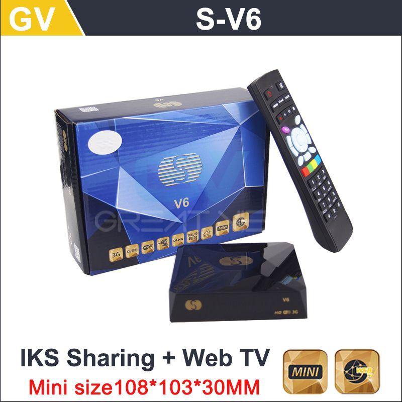 1pc/Lot Original S-V6 Mini HD Satellite Receiver Skybox V6 S Support CCCAMD  Newcamd WEB TV USB Wifi 3G Biss Key Youporn