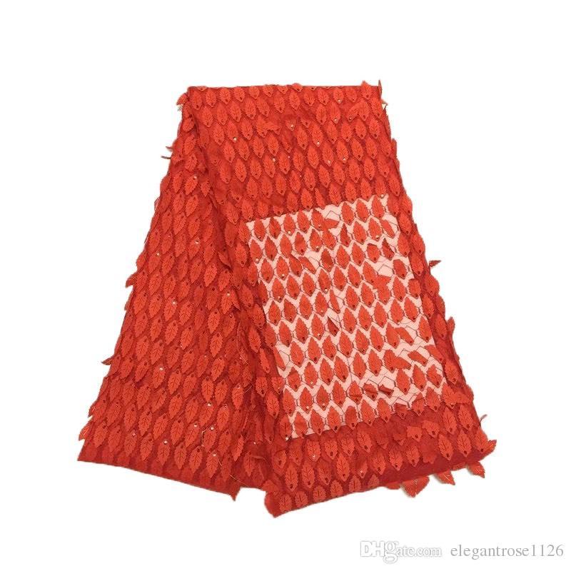 Miglior tessuto africano del merletto di colore oro nigeriano tessuto francese 2017 di alta qualità tulle africano tessuto di pizzo abito da sposa GYNL0012