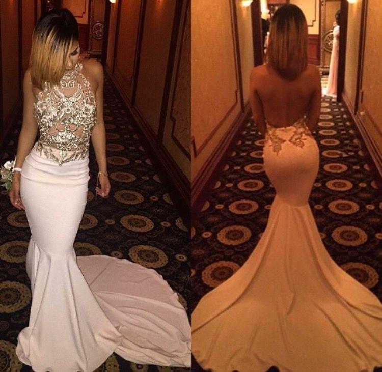 Abiti da sera backless 2016 sexy sirena halter sheer ricamo Jersey CourtTrain abiti formali abiti da sposa