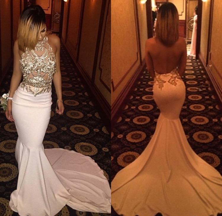 Backless Dresses 2016 Sexy Mermaid Halter Sheer Haft Jersey Courtrain Formalne Suknie Vestidos de Noche
