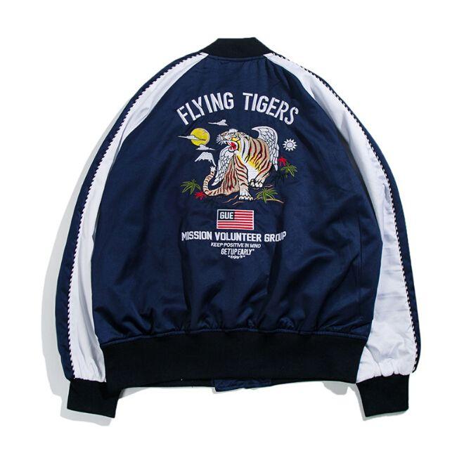 Spor Giyim Erkekler Vogue Nakış Kaplan Beyzbol Ceketler Sokak Rahat Moda Bombacı Ceket Palto
