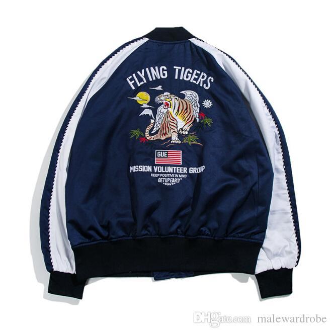 Спортивная одежда Мужская мода Vogue Вышивка Тигр Бейсбол Куртки Улица Повседневная мода Бомбер Куртки
