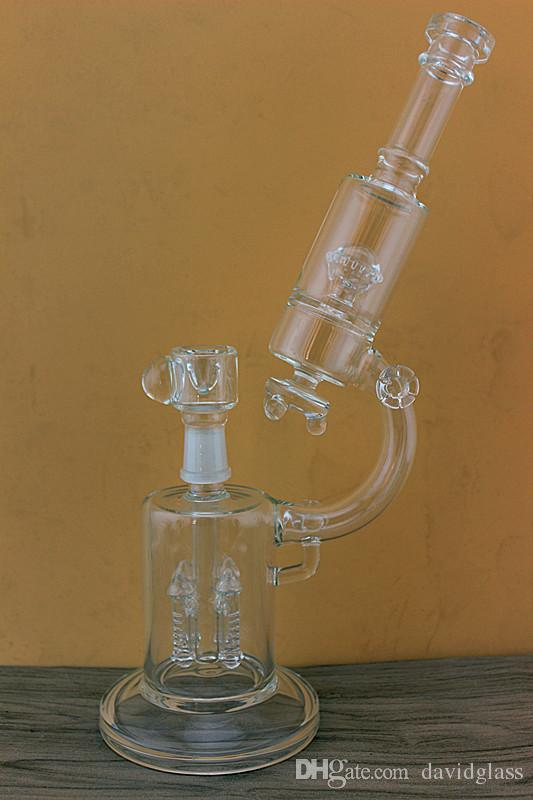 "High quality microscope Glass Bong form 14""inches Glass water pipes with rocket perc and UFO perc 18.8mm joint"