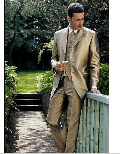 Gold Groom Tuxedo Notch Lapel Men Wedding Suits Prom/Formals ...