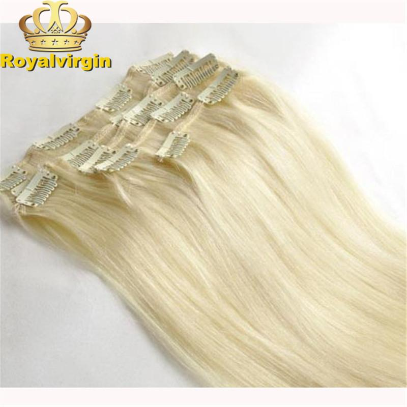 613 Bleach Blond Hot Selling Clip In Hair Extensions For Black Women