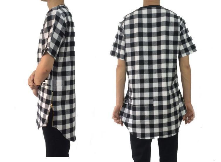 Summer Hip Hop Red Plaids cotton flannel t shirts for men Zipper Sides Tees Lengthen Arc Hem Casual plaids Men T Shirts M-2XL