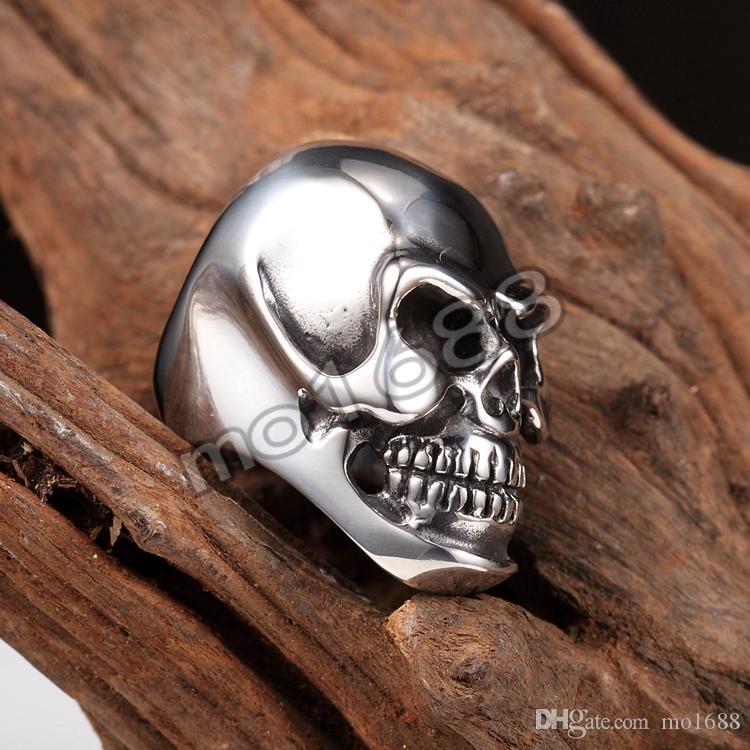 Anello da motociclista da uomo in acciaio inossidabile 316L pesante nero con testa cranica grande, misura 7-13