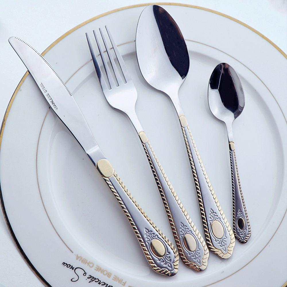 Gold Plated Mirror Polish Stainless Steel Fork Spoon Knife Sets Western Antique Dinnerware Sets Frost Cutlery Set Floral Dinnerware Sets Floral Dinnerware ... & Gold Plated Mirror Polish Stainless Steel Fork Spoon Knife Sets ...
