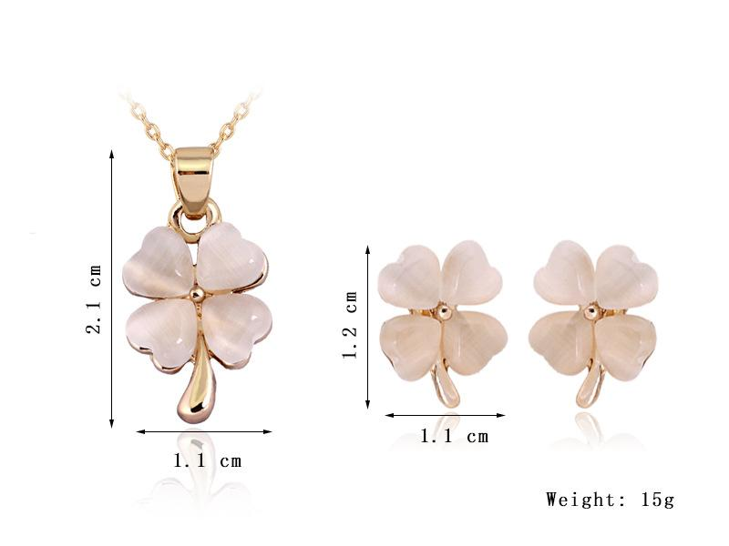 Luxury Real Opal Clover pendant necklace and stud earrings jewelry sets Flower pure gem Lady jewelry set