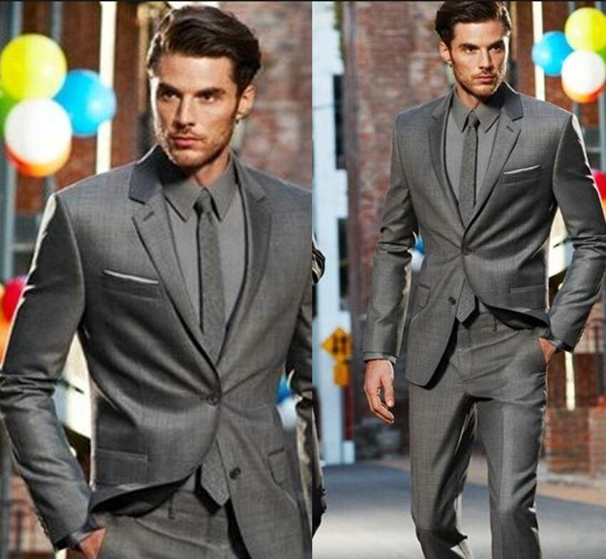 Bonito novo design de moda estilo Nova Chegada Custom Made Cinza Escuro Clássico Do Noivo Smoking Melhor Homem Terno de Moda de Casamento Jacket + Calças