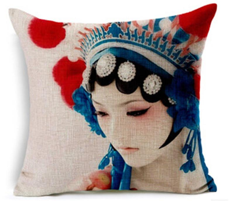 Traditional Chinese Pillow : Cute Sofa Pillow Case With Portrait Pattern,Cotton Linen Material Traditional Chinese Throw ...