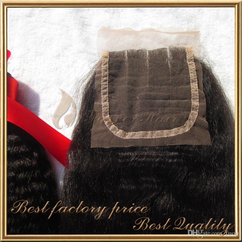 la armadura virginal brasileña gruesa recta rizada afro del pelo del yaki grueso con longitud superior de la mezcla del cierre del cordón 8-28inch / libera el envío