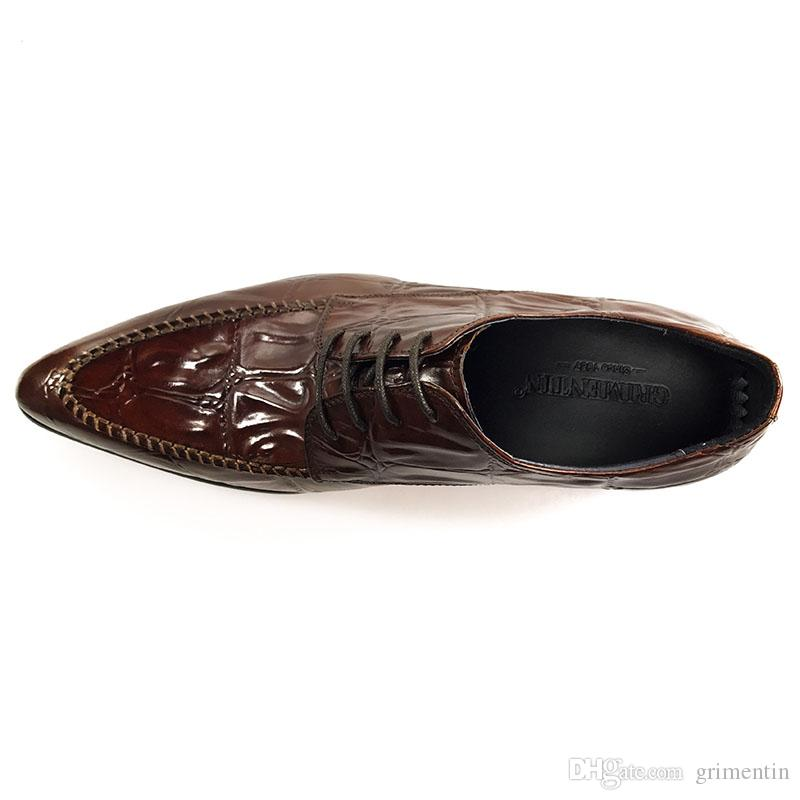 GRIMENTIN Hot sale brand mens dress shoes fashion designer oxford shoes genuine leather black brown formal business office men shoes new CG