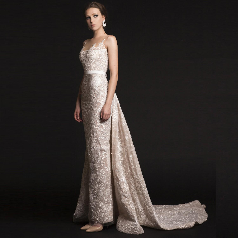 2016 ashi studio vestidos de noite de renda sheer neck drapeado trem lace appliqued mangas vestidos formais noite sereia vestidos de festa