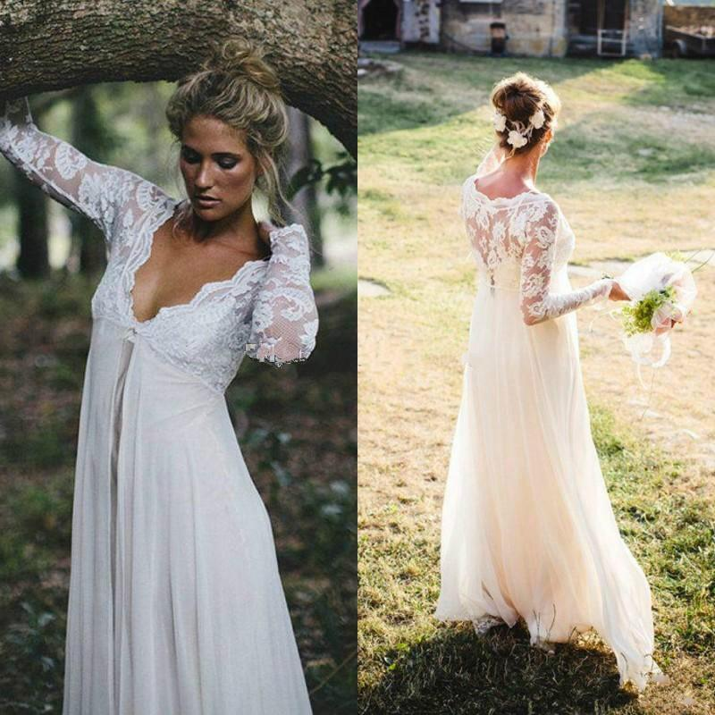 Discount Lace Maternity Wedding Dresses With Empire Waist Floor Length Chiffon Long Sleeves Plus Size Bridal Sexy Beach Gowns Dress