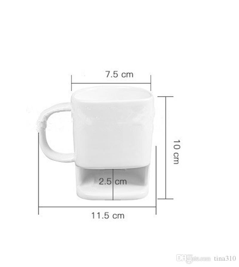 Caneca de cerâmica Biscoitos De Chá Branco Leite Sobremesa Xícara de Chá Xícara de Café Canecas Home Office 240 pçs / lote IC852