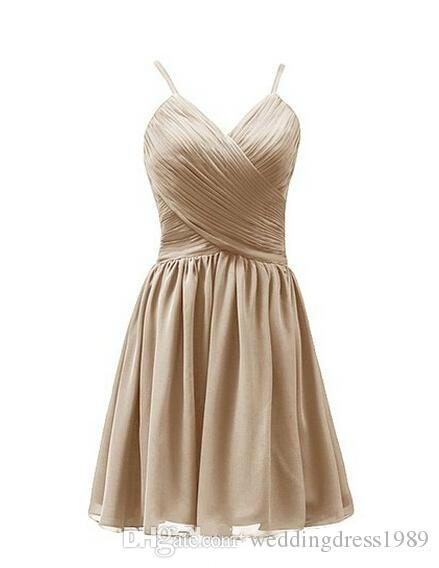 Short Chiffon bridesmaid dresses cheap A-Line Gown Spaghetti Straps Zipper Back With Pleats Body Prom Dress