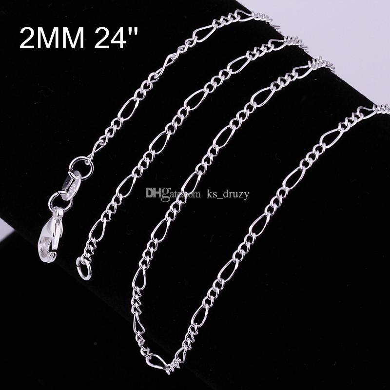 """925 Sterling Silver Plated 2MM Figaro Link Chain Length 16"""" 18"""" 20"""" 22"""" 24"""" inch Fashion Pendant Chain Jewelry C013"""